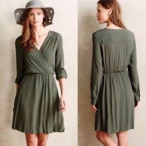 Anthropologie Maeve Lene Green Wrap Dress XS